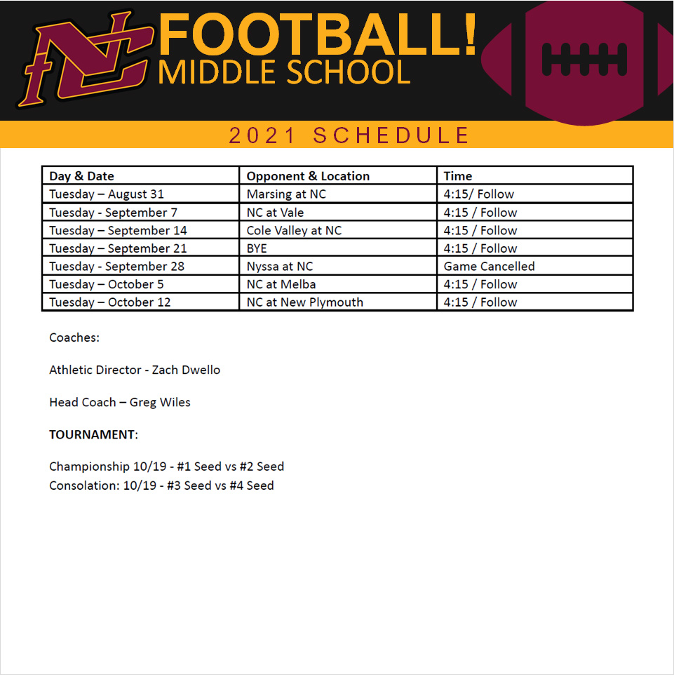 Nampa Christian Trojans Middle School Football Schedule 2021
