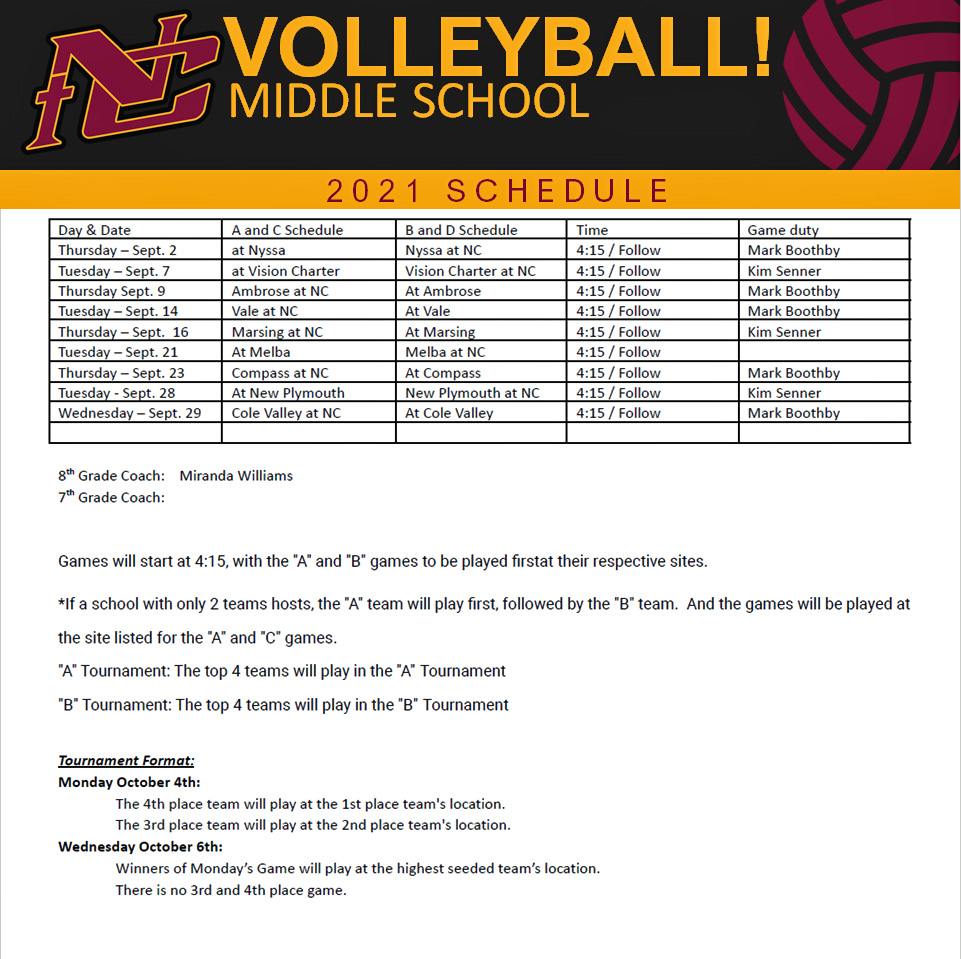 Nampa Christian Trojans Middle School Volleyball Schedule 2021