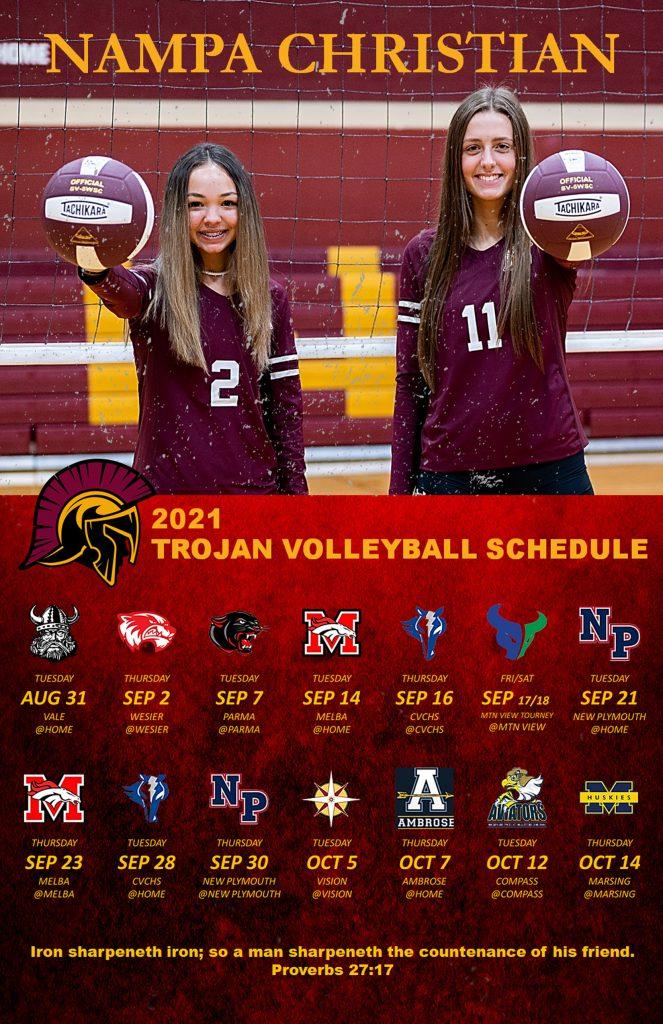 Nampa Christian Trojans Volleyball Schedule 2021